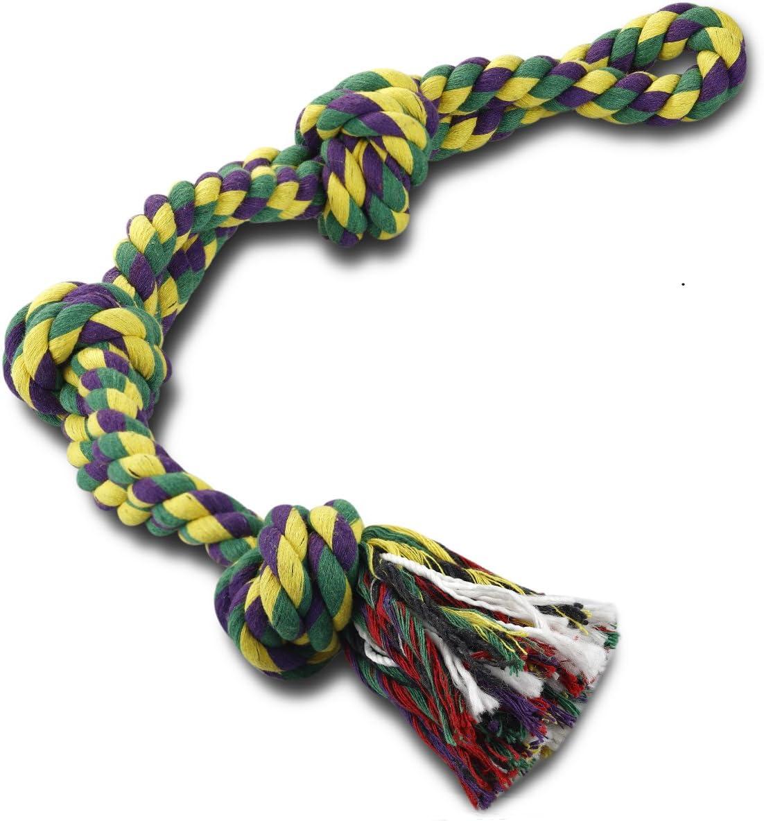 RIO Direct Juguetes de Cuerda para Perros, para Perros Fuertes y Grandes, Resistentes, 3 Nudos, Resistentes, Resistentes, Casi indestructibles, Lavables, para Razas Grandes, Perros Grandes