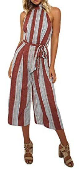 Women Sexy Sleeveless Turtleneck Stripe Wide Leg Capri Pant Party Beach Jumpsuit Rompers