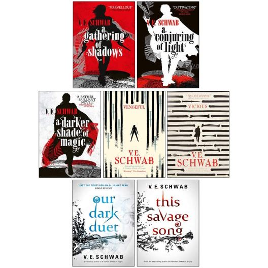 V. E. Schwab 7 Books Collection Set (A Darker Shade of Magic Series,  Villains Series, Monsters of Verity Series): V. E. Schwab, A Gathering of  Shadows 0765376482, A Conjuring of Light 978-0765387479,