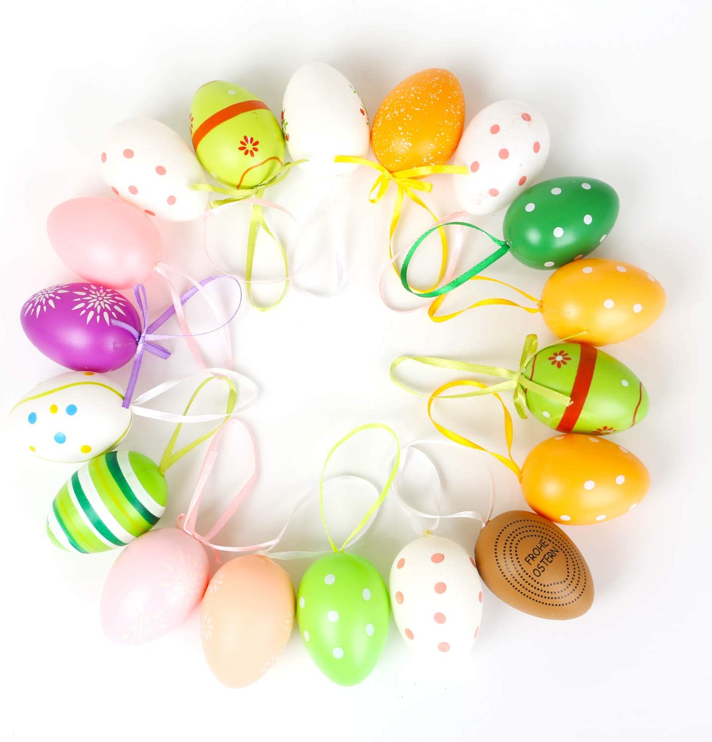 Drcurn 16 Pieces Easter Eggs Hanging Spring Egg Decorations Assorted Colors For Easter Egg Hunt Game And Festival Decoration Random Pattern And Color Amazon Co Uk Kitchen Home