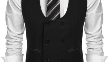 33acfe9eb51cb0 COOFANDY Men s Slim Fit Sleeveless Suit Vest Double Breasted Business Dress  Waistcoat