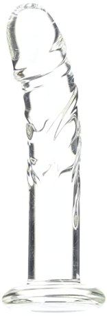 Spartacus Blown Medium Realistic Glass Dildo, Clear