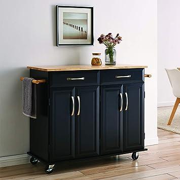 Amazon Com Belleze Portable Kitchen Island Cart W Wood Top 2 Towel Racks Drawers Cabinets W Adjustable Shelves Kitchen Islands Carts