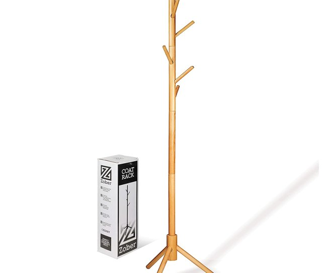 High Grade Wooden Tree Coat Rack Stand 6 Hooks Super Easy Assembly No Tools Required 3 Adjustable Sizes Free Standing Coat Rack Hallway Entryway Coat