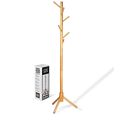 High Grade Wooden Tree Coat Rack Stand 6 Hooks Super Easy Assembly No