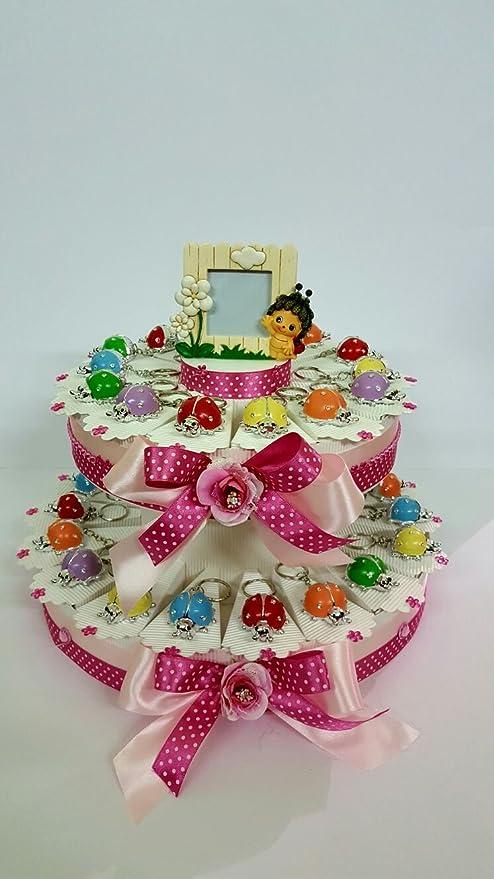 Torta Bomboniere Coccinelle Colorate Assortite Portachiavi Battesimo Laurea Cresima Comunione Compleanno 18 Anni Completa Di Bigliettino 25 Fette