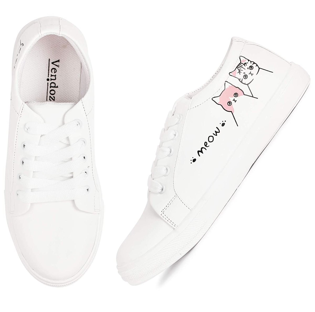 VENDOZ Women and Girls Latest Collection White Casual Shoes Sneakers