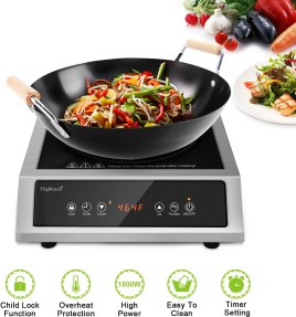Trighteach Professional Portable Induction Cooktop, 1800W Single Countertop Burner, Commercial Powerful Electric Stove with Stainless Steel Shell