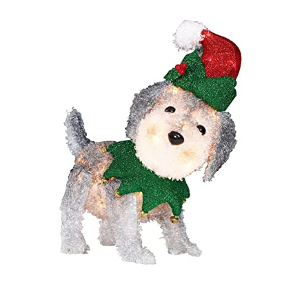 Christmas Lighted Dog Decoration Fluffy 22 Pre Lit Outdoor Schnauzer Display Xmas