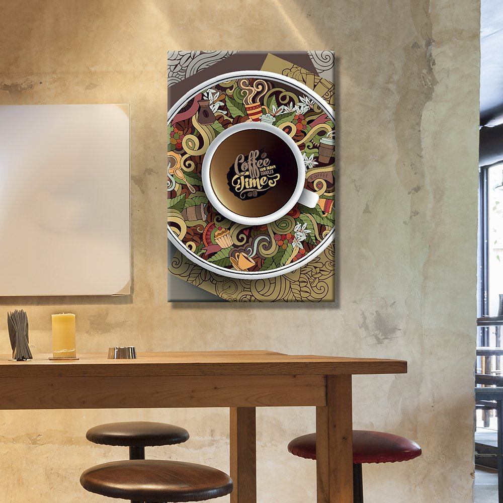 Coffee Decor for Coffee Lovers | Coffee Time Cup of Coffee Art on The Graffiti Style Plate - Giclee Print
