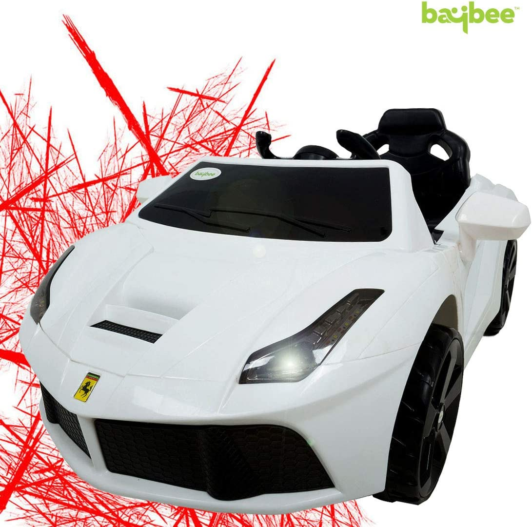 Baybee Speeder Battery Operated Ride On Car for Kids with USB / AUX 30Kg Weight Capacity Kids Car/ Children Car / Kids Cars to Drive / Baby Car / Electric Car for Kids ( White )