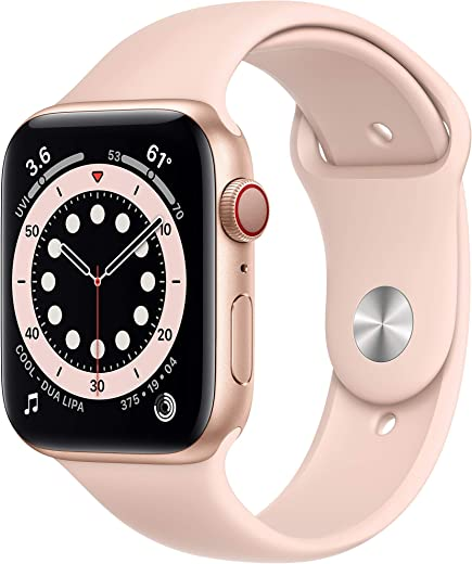 New Apple Watch Series 6 (GPS + Cellular, 44mm) - Gold Aluminum Case with Pink Sand Sport Band