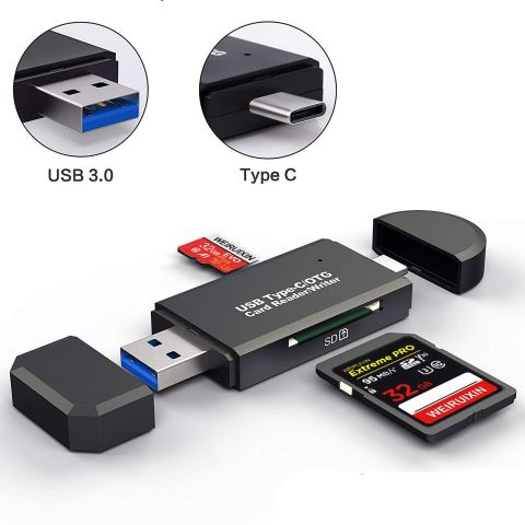 WRX USB3.0 SDメモリーカードリーダー USBマルチカードリーダー 多機能 超高速データ転送 小型軽量 変換アダプタ SD OTG SD/Micro SDカード両対応 Type-C/ USB接続 Macbook Pro, MacBook 2017/2016, iMac 2017, Samsung S9/S9 Plus/S8/S8 Plus/Note 8/Note 9/Galaxy Tab S3などの機種に対応