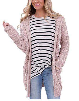 Moludoya Women's Long Sleeve Open Front Outwear Chunky Pullover Knit Cardigan Sweater