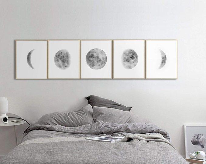 Amazon.com: Wall Art For Bedroom, Moon Phases Wall Art Print ...