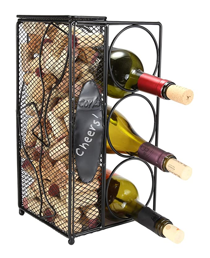 "Home-X Keepsake Wine Cork Holder""Chalkboard"" Write A Note, Wine Corks Saver with 3 Wine Bottles Storage Rack."