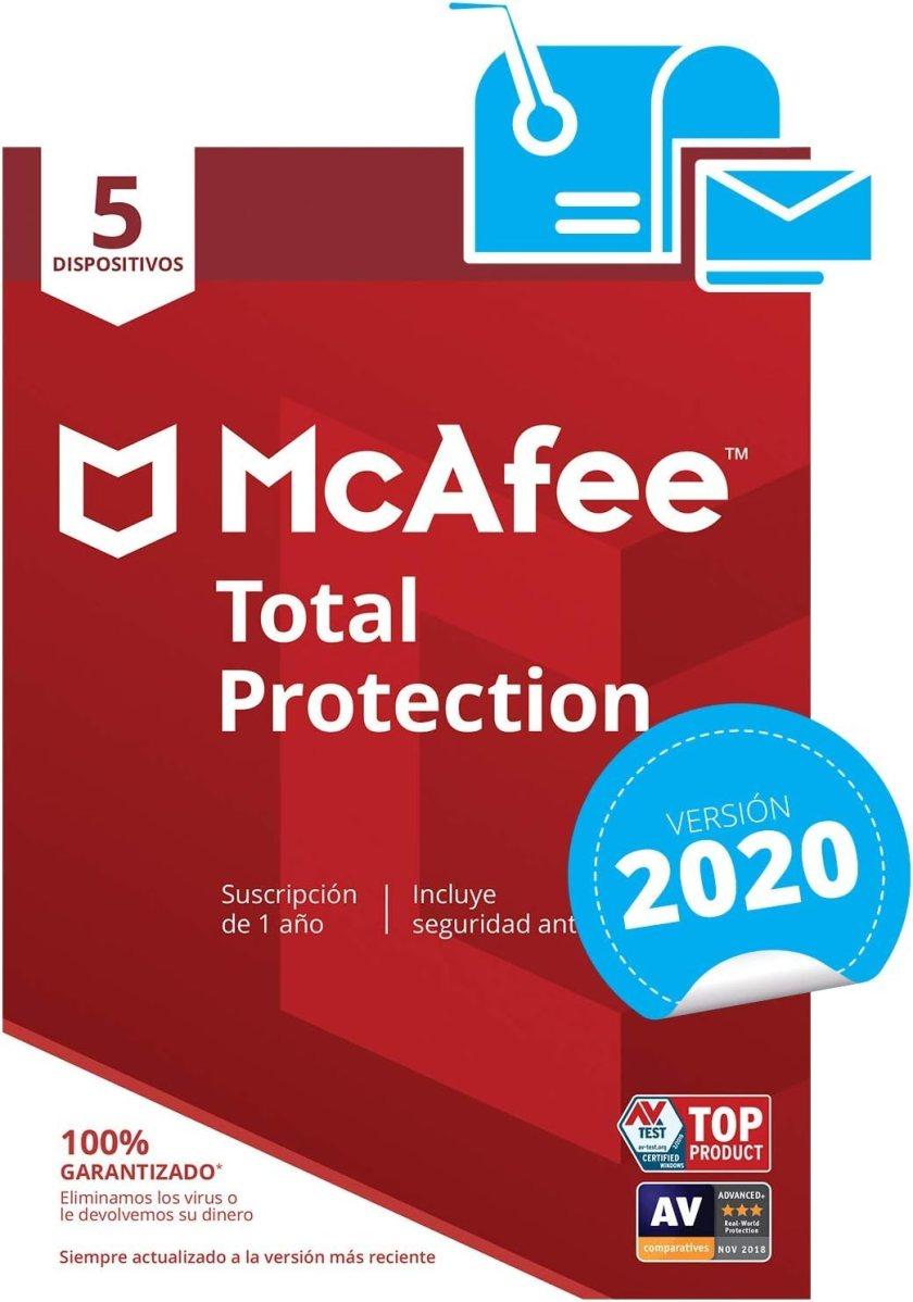 McAfee Total Protection 2020 - Antivirus   5 Dispositivos   Suscripción de 1 año   PC/Mac/Android/Smartphones  Código de activación por correo
