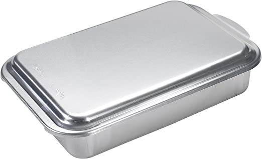 "Nordic Ware 9"" x 13"" Rectangular Cake Pan with Lid, Silver"