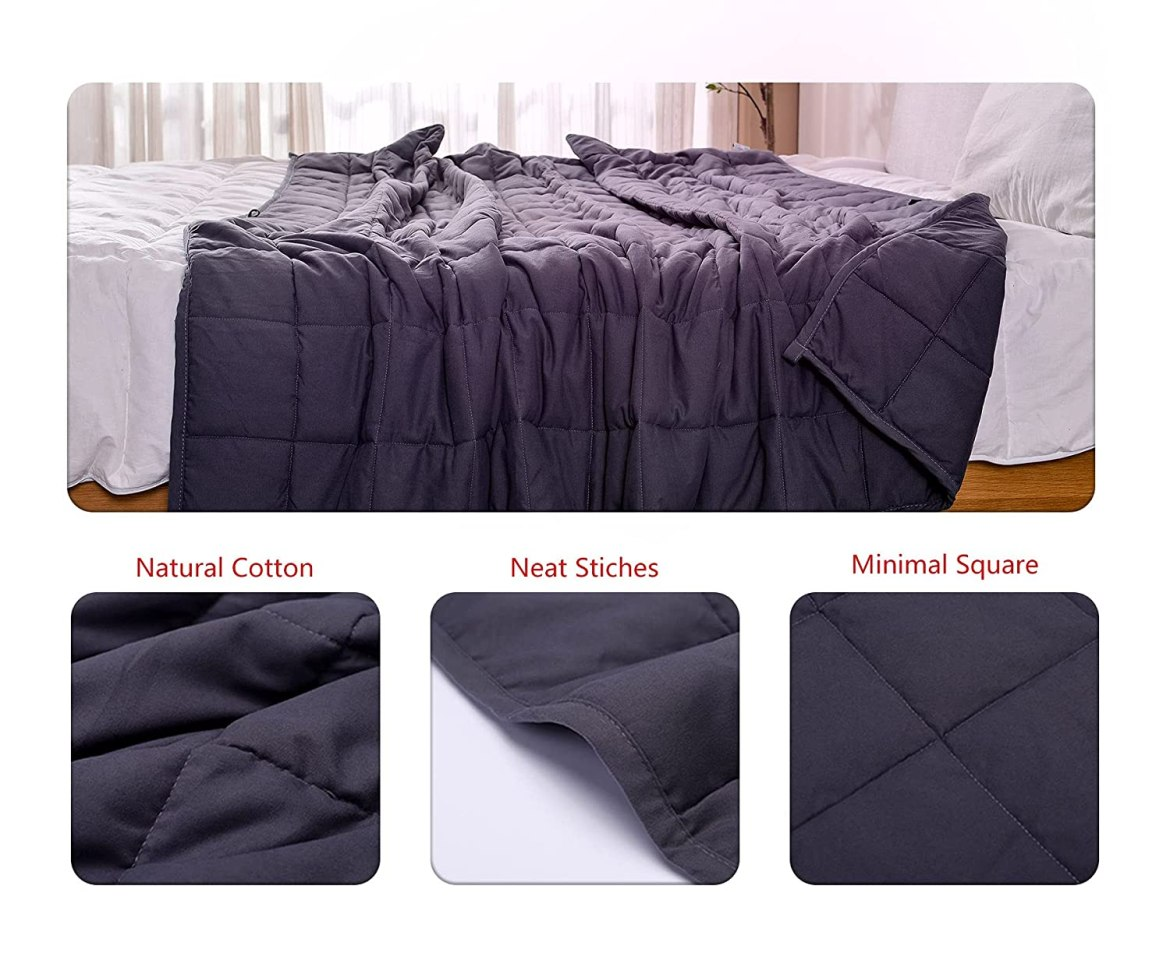 """AN Cooling Weighted Blankets (15 lbs, 48"""" x 72"""", Twin Size) Heavy Blanket for Adult, Premium Cotton with Natural Glass Beads"""