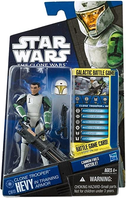 Amazon Com Star Wars The Clone Wars Cw41 Clone Trooper Hevy In Training Armor 3 75in Action Figure Toys Games