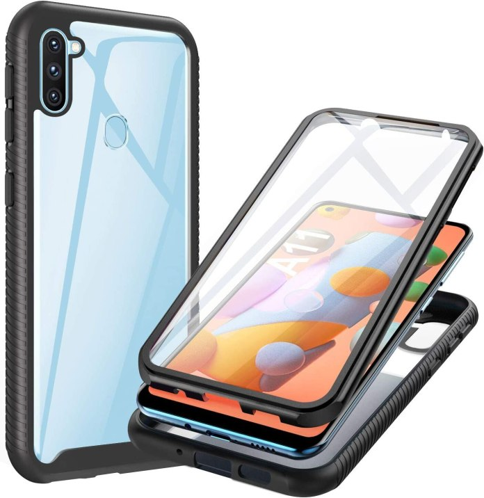 Amazon Com Ivencase Samsung Galaxy A11 Case Full Body With Built In Screen Protector Heavy Drop Protection Shock Absorption Cover Case Designed For Samsung Galaxy A11 Black