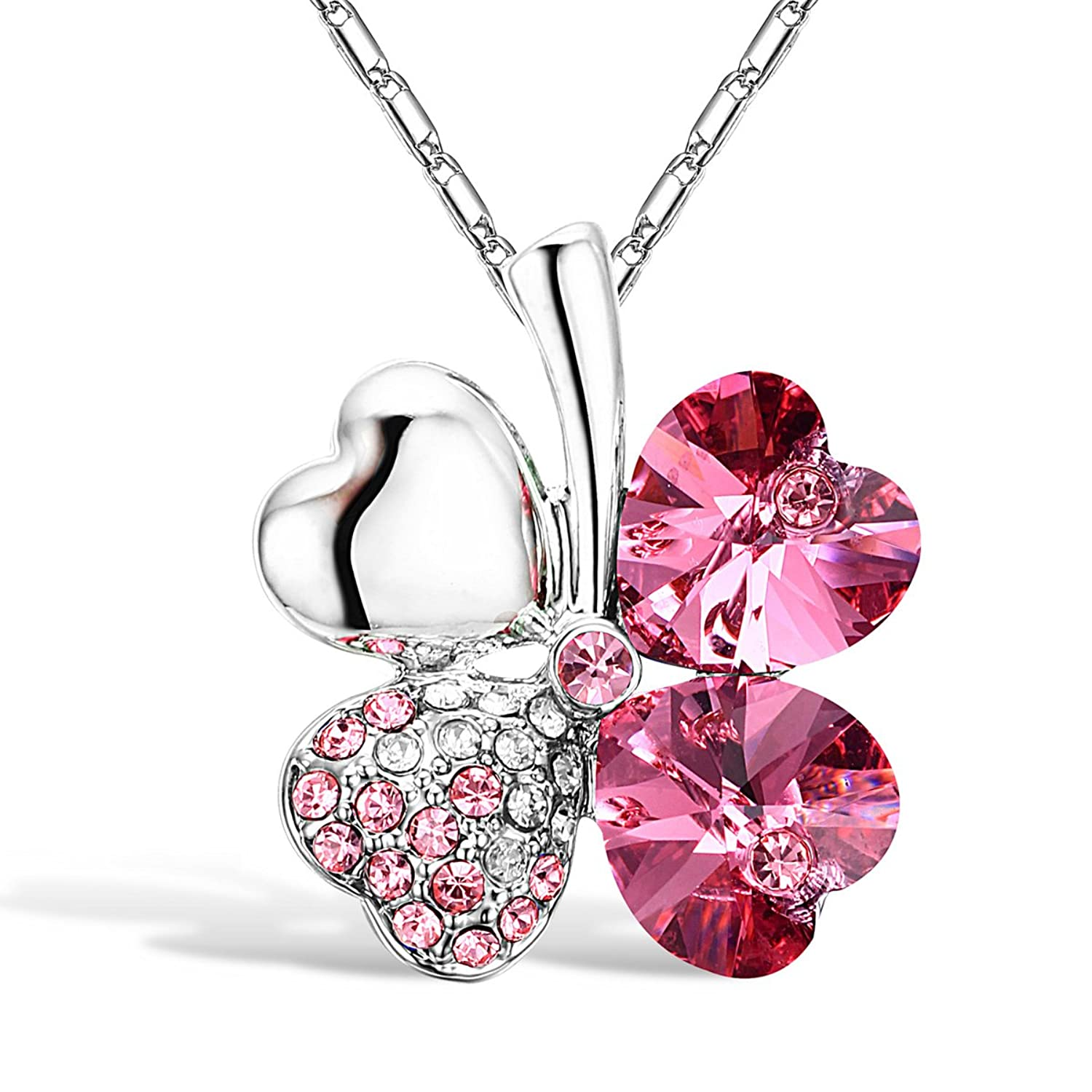 Merdia Four Leaf Clover Heart-shaped Swarovski Elements Crystal Pendant Necklace 16