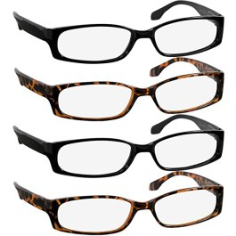 Reading Glasses 1.25 2 Black 2 Tortoise F503 (4 Pack)
