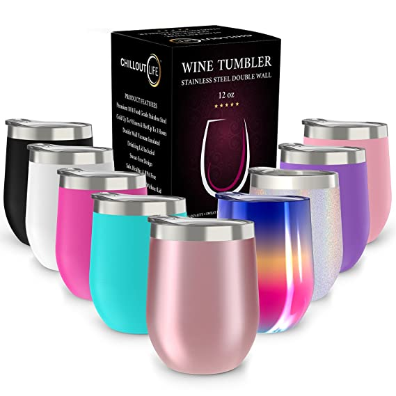 CHILLOUT LIFE Stainless Steel Stemless Wine Glass Tumbler with Lid, 12 oz | Double Wall Vacuum Insulated Travel Tumbler Cup for Coffee, Wine, Cocktails, Ice Cream - Rose Gold Wine Tumbler