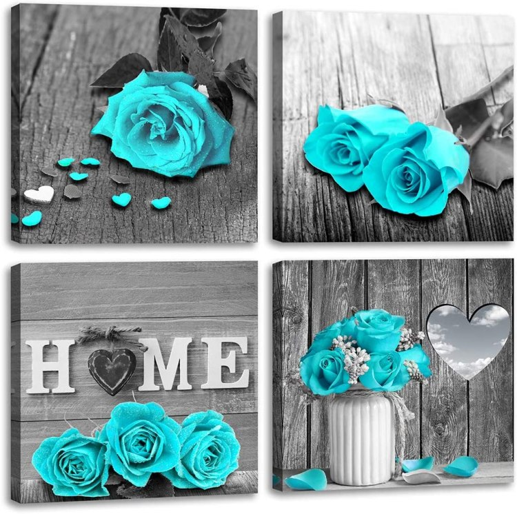 Amazon Com Wall Decor For Living Room Teal Blue Rose Flower Bathroom Decor Bedroom Wall Decor Black And White Canvas Art Home Love Couple Women Gifts Theme Modern Frame Pictures Turquoise Rustic Set