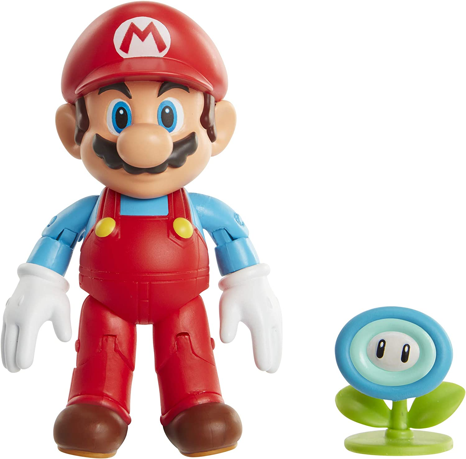Amazon Com Super Mario Action Figure 4 Inch Ice Mario Collectible Toy With Ice Flower Accessory 406804 Toys Games
