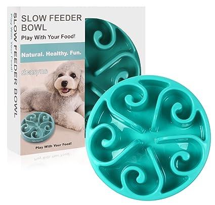 Siensync Slow Feeder Dog Bowl Non Slip Puzzle Bowl Fun Feeder Interactive Bloat Stop Dog Bowl Eco Friendly Non Toxic Bamboo Fiber Slo Slow Feed Dog Bowl