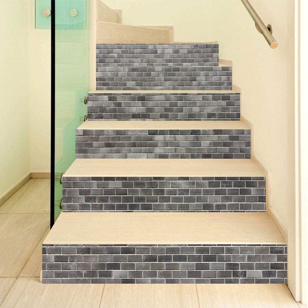 Amazon Com Grey And White 3D Stair Stickers Decals 6Pcs Set | Stairs Wall Tiles Design | Main Entrance Wall Tile | Exterior | Two Story House Stair | Wall Flat | Residential