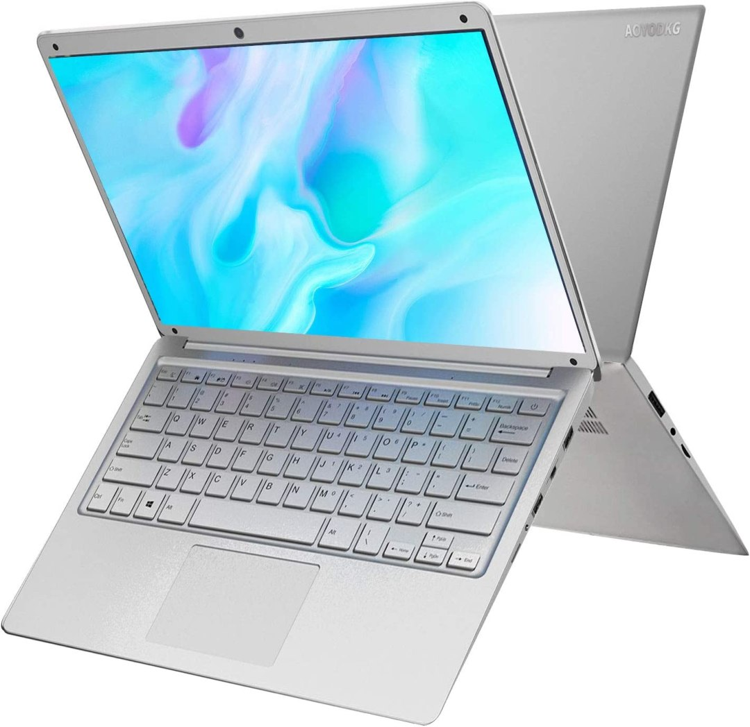 PC Ordinateur Portable Windows 10 14.1 Pulgadas , Intel HD Graphics Notebook, 4GB+64GB/2 TB Espandibile Laptop , Graphiques intégrés, 1920 * 1080 Ultrabook 2.4 GHZ WiFi/HDMI/Bluetooth (Argent)