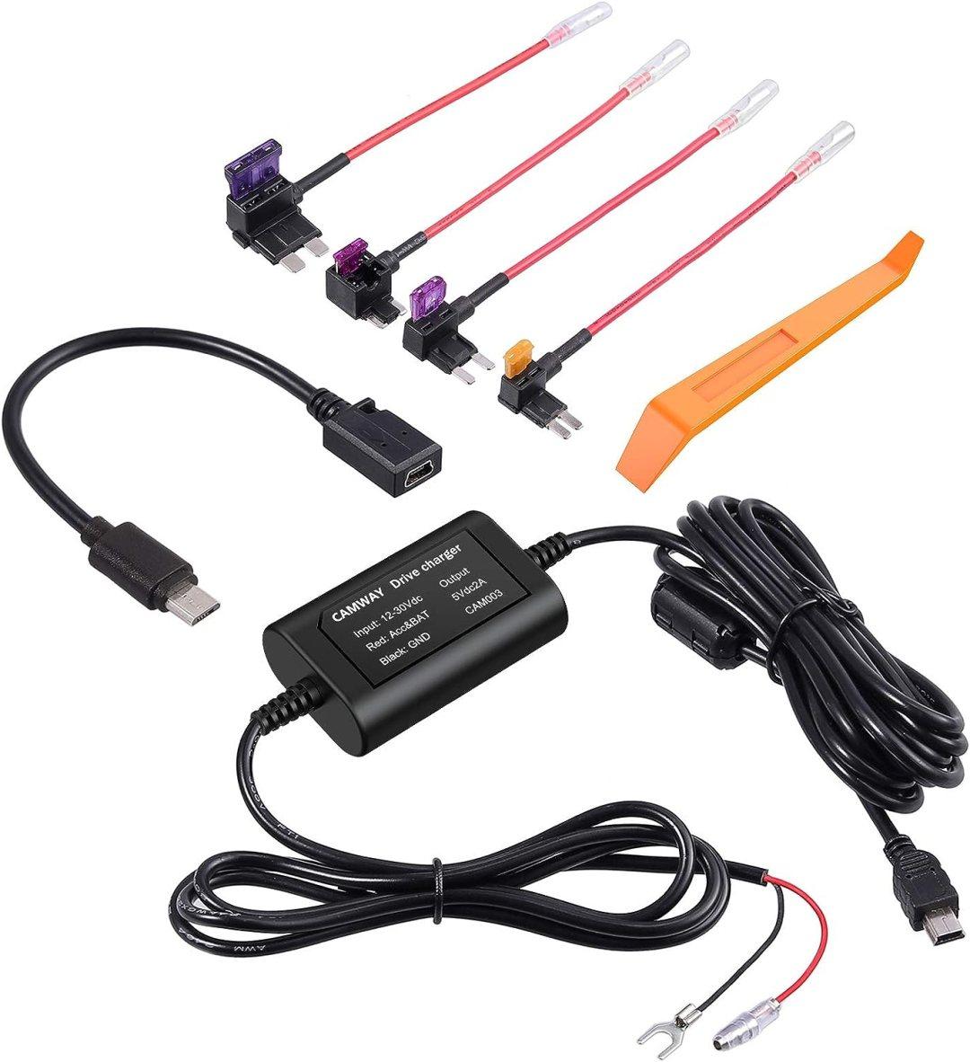 CAMWAY Dash Cam Hardwire Kit Mini USB 12V-24V à 5V Câble Rigide Kit Chargeur de Voiture Câble Dash Cam Hardwire avec Micro USB Cable pour Nextbase etc