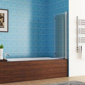 120 x 140 cm Badewannen 2 tlg. Faltwand Aufsatz 180° Duschwand Duschabtrennung NANO Glas von MIQU