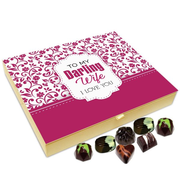 Chocholik Anniversary Gift Box – to My Darling Wife I Love You Chocolate Box – 20pc