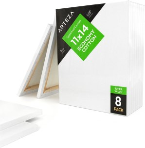 "Arteza 11x14"" Stretched White Blank Canvas"