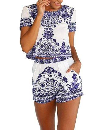 Rita.MK Women's 2 Pieces Floral Pattern Crop Tops+Shorts Set Outfit Jumpsuit