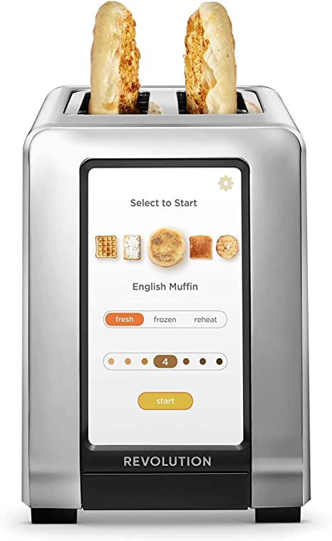 Amazon Com Revolution Cooking R180 High Speed 2 Slice Stainless Touchscreen Toaster Exclusive Instaglo Technology With 63 Digital Settings Makes Perfect Toast Every Time Kitchen Dining