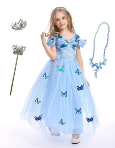 Familycrazy Cosplay Cinderella Butterfly Party Girls Costume Dress for Toddlers with Tiara Necklaces and Wand Blue