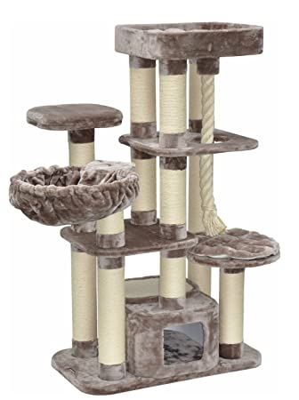 Nanook Kratzbaum Memphis Xxl Hochwertiger 600 Gr Plüsch Schwere Große Katzen 158 X 85 X 49 Cm Grau Braun 51 Kg