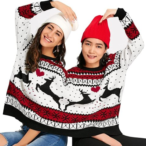 CHARMMA Crew Neck Long Sleeve Two Person Knit Pullover Ugly Christmas Sweater (COLORMIX 2, One Size)