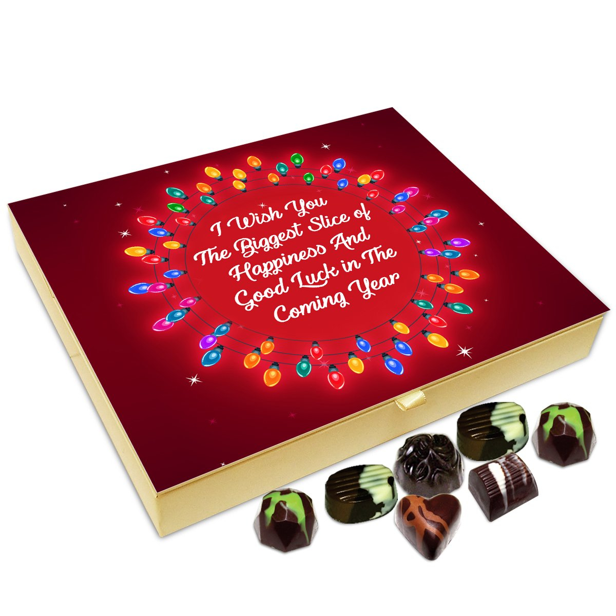 Chocholik New Year Chocolate Box – I Wish You Biggest Slice of Happiness On New Year Chocolate Box – 20pc
