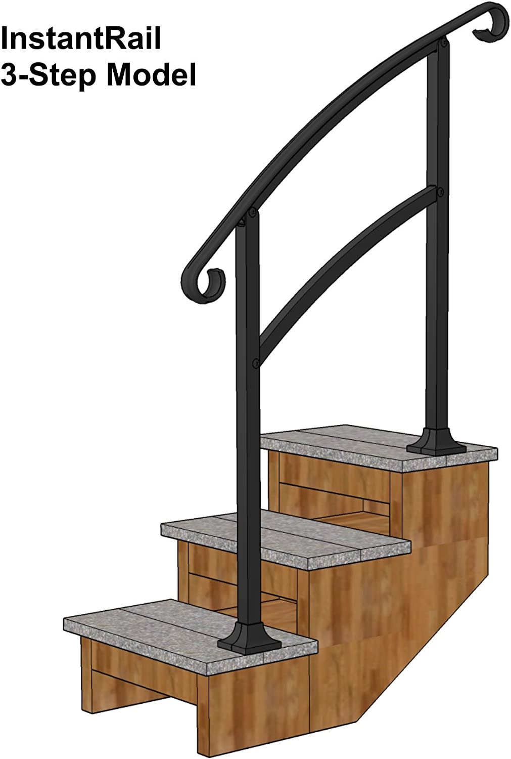 Instantrail 3 Step Adjustable Handrail Black Amazon Com   Portable Steps With Handrail   3 Step   Free Standing   Camper   Stair   Safety Step Ladder 4 Step