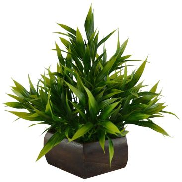 Plastic & Wood Artificial Bamboo Leaves Plant