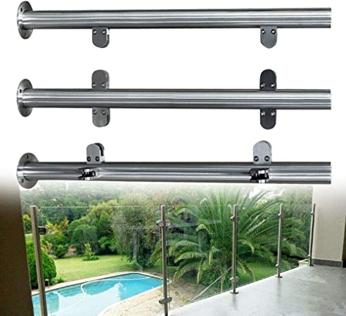 Amazon Com Tfcfl 110Cm High Glass Balustrade Railing Post | Stainless Steel Handrail With Glass | Balustrade | Steel Railing | Price | Aged Polished Steel | Wood
