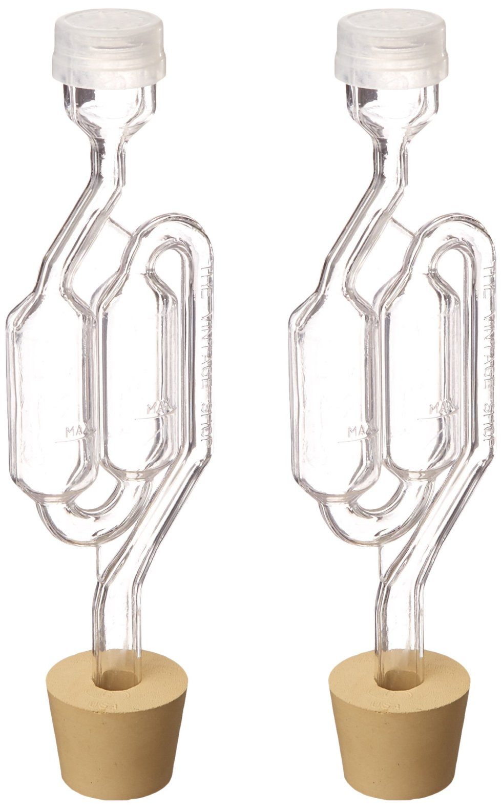 Twin Wine/Beer Home Brew Making Bubble Airlock and Carboy Bung (Pack of 2)