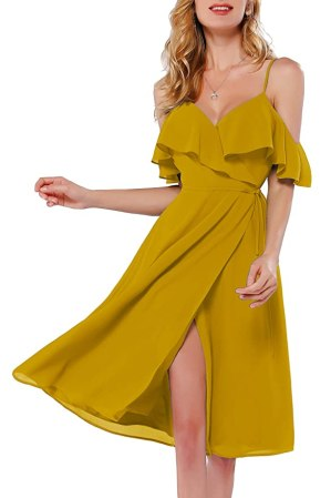 Azalosie Women Wrap Dress Cami Spaghetti Stap Ruffle Cold Shoulder Side Tie Flowy Slit Summer Beach Party Wedding Midi Dress Yellow