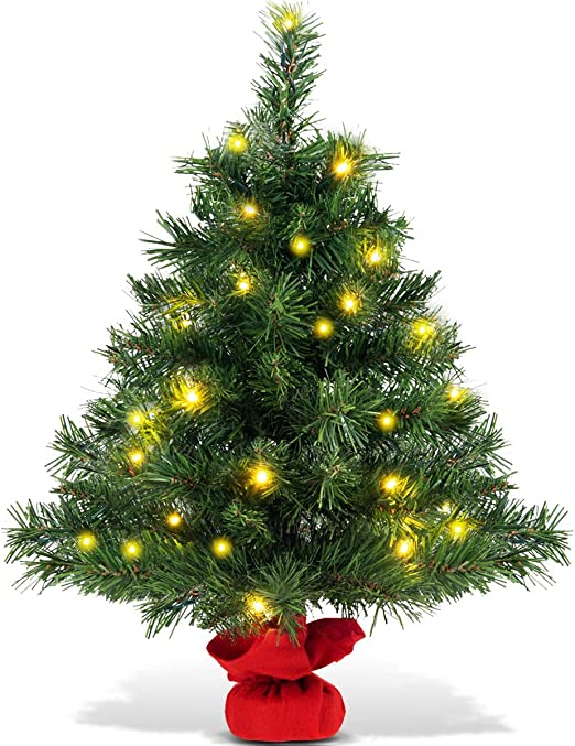 Amazon Com Goplus 2ft Tabletop Christmas Tree Small Artificial Premium Spruce Tree With 35 Warm White Led Lights Stable Cement Base Battery Operated For Xmas Indoor Decor Home Kitchen