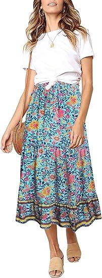 long boho skirt blue